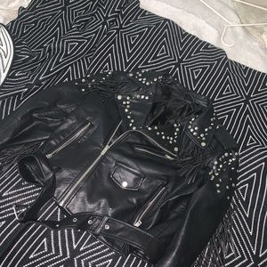 Zara Fringe Trim Studded Leather Jacket